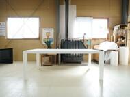 特注ダイニングテーブル W2000 D1000 H740mm 白色鏡面仕上げ
