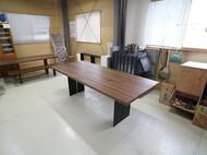 料理スタジオ用特注テーブル ウォールナット スチール脚 高さ H80cm
