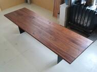 3m ウォールナット無垢 40mm厚 スチール脚 オリジナルダイニングテーブル