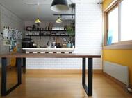特注ダイニングテーブル ウォールナット無垢 40mm厚 スチール無垢 マットブラック仕上げ