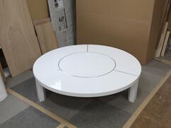 特注円形ローテーブル 白色鏡面仕上げ Φ1300 H320mm