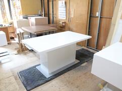 ダイニングテーブル 1本脚 白色鏡面仕上げ W1500 D850 H740mm