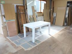特注ダイニングテーブル 白色鏡面仕上げ W1350 D800 H740mm